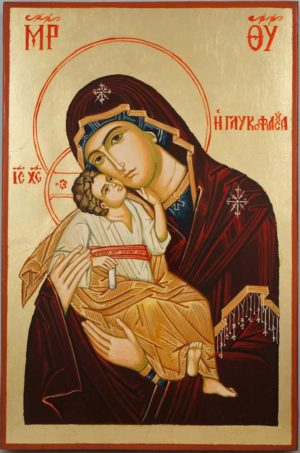 Panagia Glykophilousa Greek Hand Painted Orthodox Icon on Wood