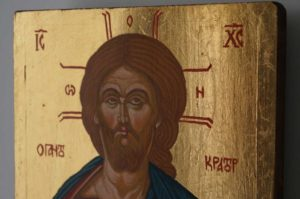 Pantokrator Open Book small Hand Painted Orthodox Icon on Wood