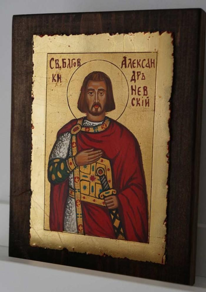 Saint Alexander Nevsky small Hand Painted Orthodox Icon