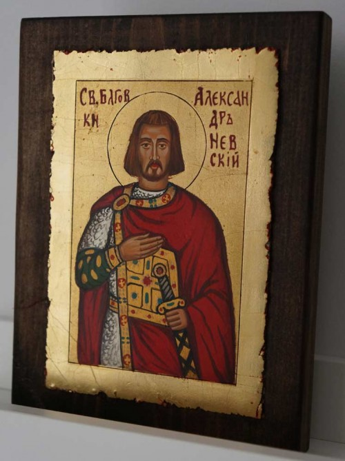 Saint Alexander Nevsky small Hand Painted Orthodox Icon