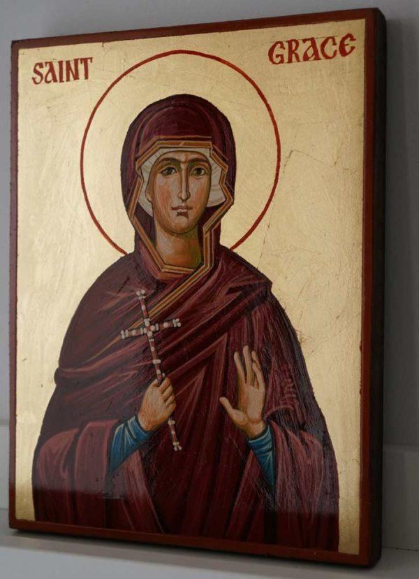Saint Grace Hand Painted Byzantine Orthodox Icon on Wood
