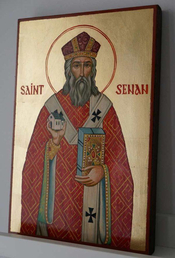 Saint Senan Hand Painted Christian Catholic Icon on Wood