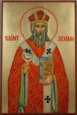 Saint Senan Hand Painted Christian Catholic Icon on Wood