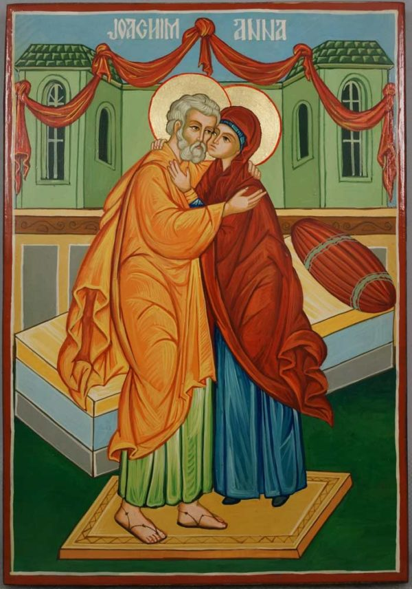 Saints Joachim and Anne Anna Hand Painted Orthodox Icon on Wood
