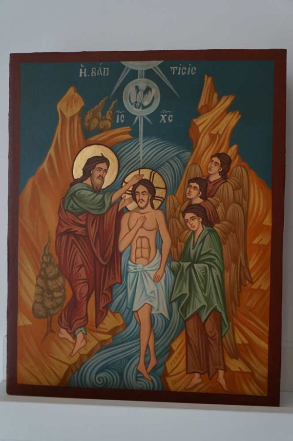 Theophany Baptism of Christ Hand Painted Orthodox Icon on Wood