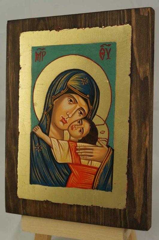 Theotokos Glykophilousa small Hand Painted Icon on Wood