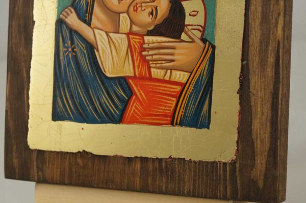Theotokos Glykophilousa small Hand Painted Icon on Wood