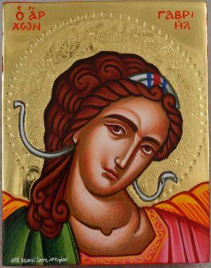 Archangel Gabriel polished gold miniature Hand Painted Greek Orthodox Icon