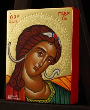Archangel Gabriel polished gold miniature Icon Hand Painted Byzantine Orthodox