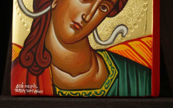 Archangel Gabriel polished gold miniature Icon Hand Painted Byzantine Orthodox