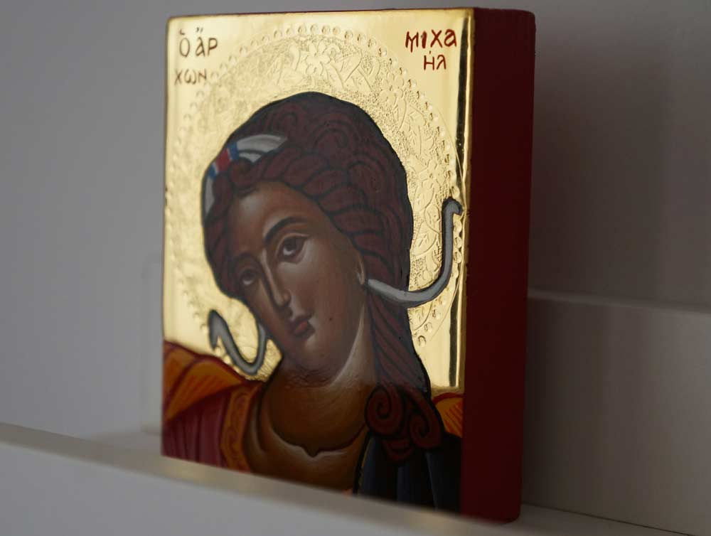 Archangel Michael polished gold miniature Hand Painted Greek Orthodox Icon