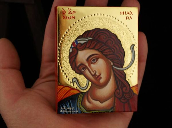 Archangel Michael polished gold miniature Icon Hand Painted Byzantine