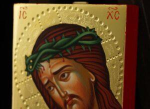 Christ O Nymphios polished gold miniature Icon Hand Painted Byzantine Orthodox