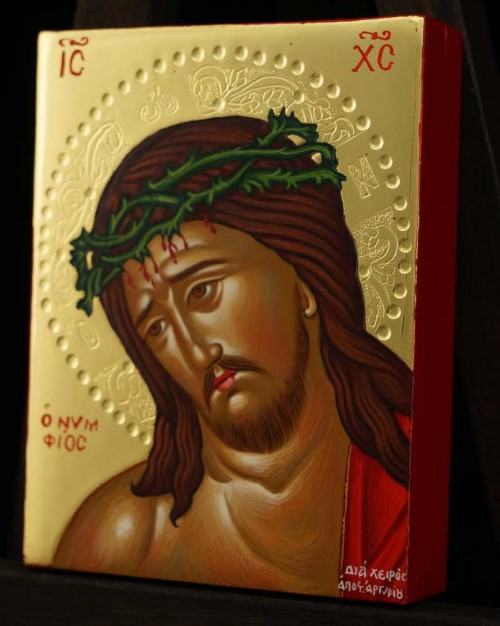 Christ the Bridegroom polished gold miniature Hand Painted Icon Byzantine Orthodox