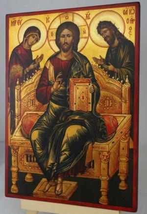 Deesis Icon Christ Theotokos and John the Baptist Hand Painted Orthodox Icon