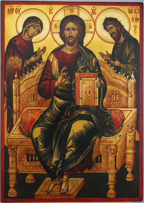 Deesis Icon Christ Theotokos and John the Baptist Hand Painted Orthodox Icon