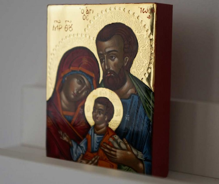 Holy Family polished gold miniature Hand Painted Greek Orthodox Icon