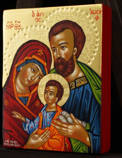 Holy Family polished gold miniature Hand Painted Icon Byzantine Orthodox
