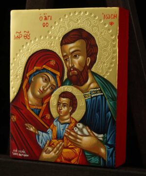 Holy Family polished gold miniature Icon Hand Painted Byzantine Orthodox