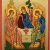 Hospitality of Abraham Rublev Hand Painted Orthodox Icon on Wood