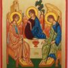 Hospitality of Abraham Rublev Hand Painted Orthodox Icon on Wood
