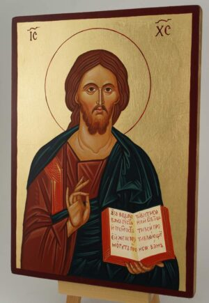 Jesus Christ Our Lord Open Book Icon Hand Painted Byzantine Orthodox