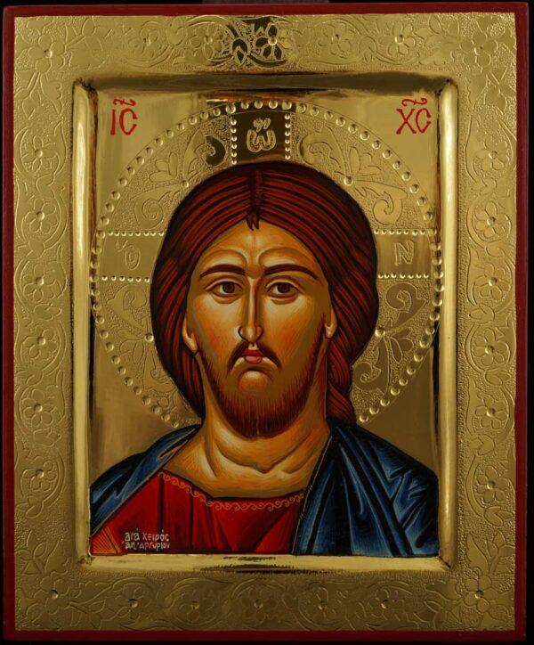 Jesus Christ Pantocrator Iconpolished gold Hand Painted Greek Orthodox Byzantine