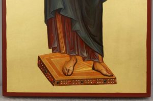 Jesus Christ Pantocrator full body Hand Painted Byzantine Orthodox Icon on Arched Wood