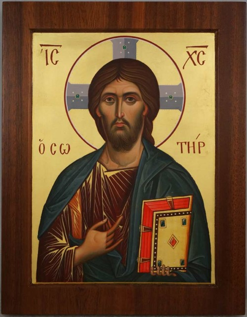 Jesus Christ Pantocrator mahogany wood panel Hand Painted Orthodox Icon