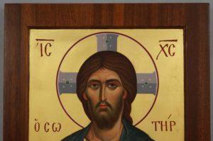 Jesus Christ Pantocrator mahogany wood panel Hand Painted Orthodox Icon