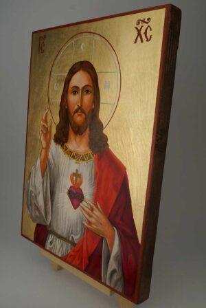 Jesus Christ Sacred Heart Icon Hand Painted Romath Catholic