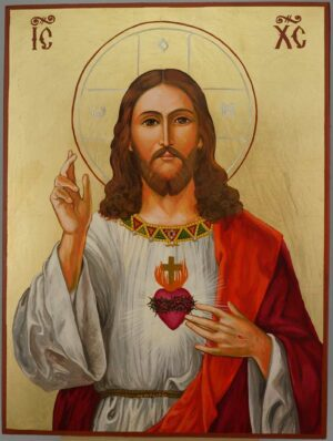 Jesus Christ Sacred Heart Icon Hand Painted Romath Catholic