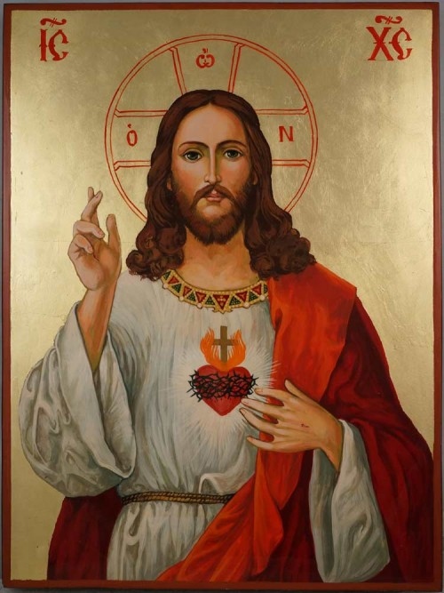 Jesus Christ Sacred Heart Large Hand Painted Roman Catholic icon cm