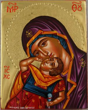 Mother of God Eleusa polished gold miniature Greek Icon Hand Painted Orthodox