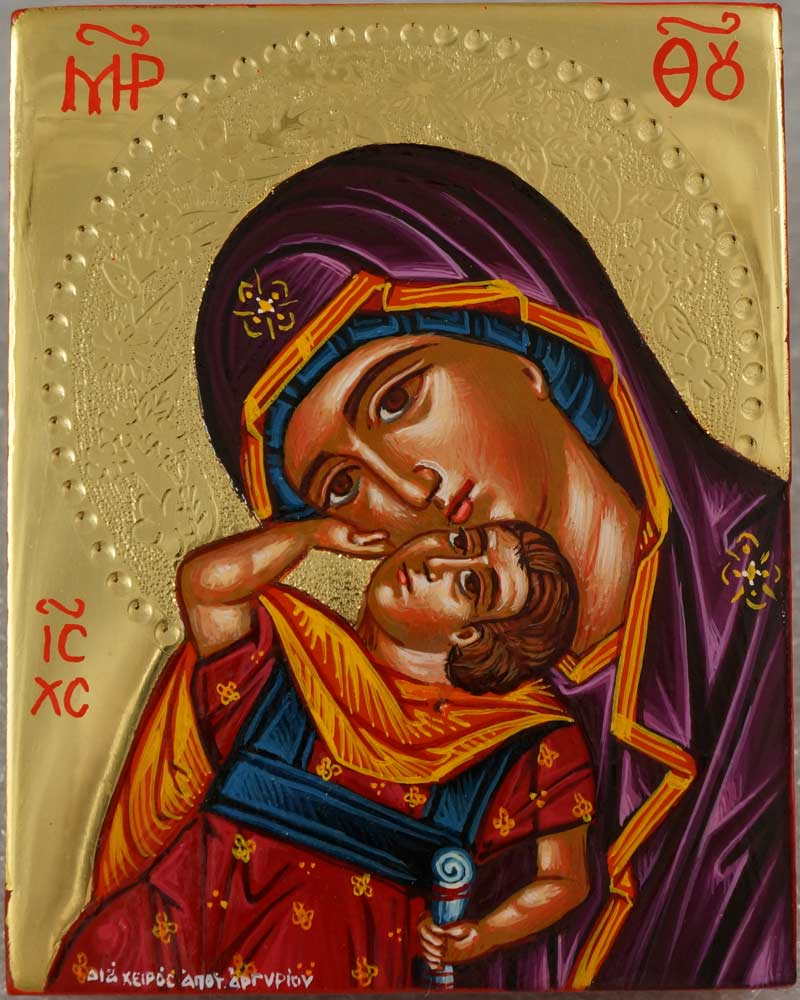 Mother of God Eleusa polished gold miniature Greek Icon Hand Painted Orthodox