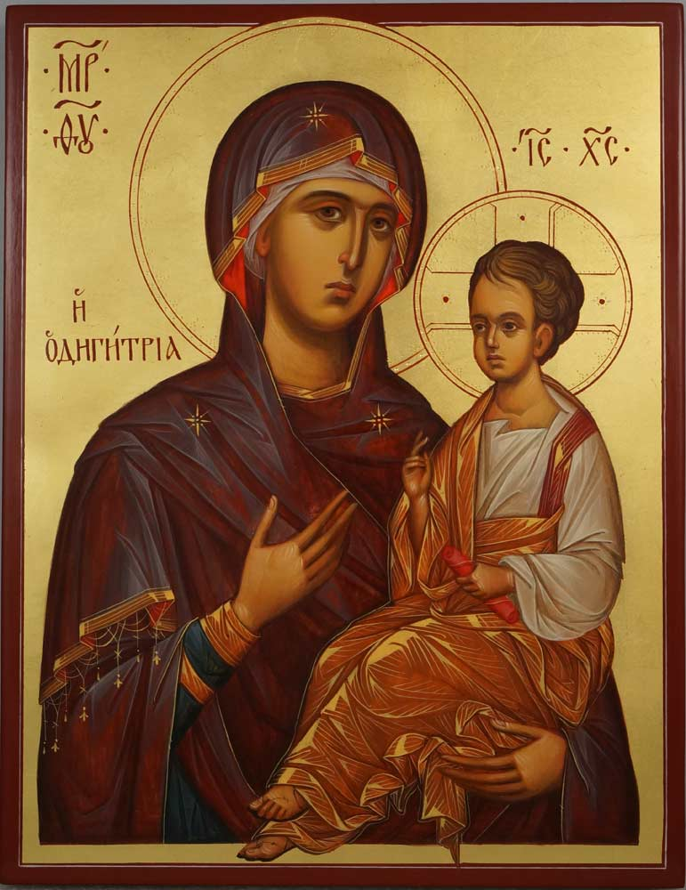 Mother of God Hodegetria Hand Painted Byzantine Orthodox Icon on Wood