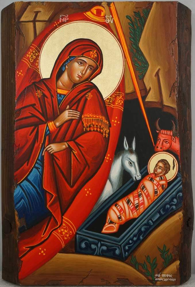Nativity of Our Lord Hand Painted Greek Orthodox Icon