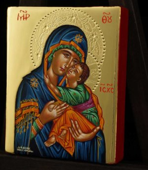 Our Lady Eleusa polished gold miniature Hand Painted Icon Byzantine Orthodox