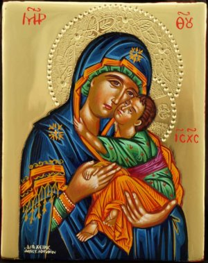 Our Lady Eleusa polished gold miniature Hand Painted Icon Byzantine Orthodox