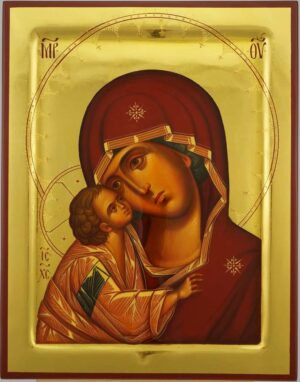 Our Lady of the Don polished gold Icon Hand Painted Byzantine Orthodox