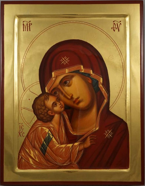 Our Lady of the Don polished gold Theotokos Eleusa Hand Painted Orthodox Icon