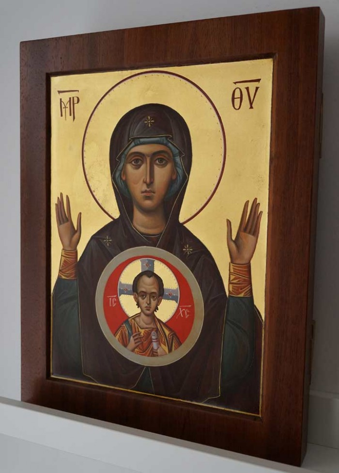 Our Lady of the Sign mahogany wood panel Hand Painted Byzantine Orthodox Icon