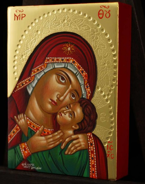 Panagia Eleusa polished gold miniature Hand Painted Icon Byzantine Orthodox