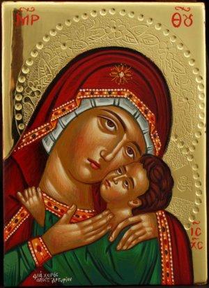 Panagia Eleusa polished gold miniature Hand Painted Icon Byzantine Orthodox