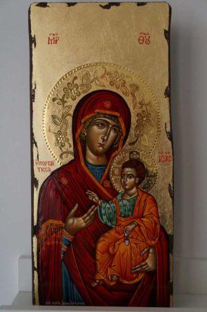Panagia Portaitissa polished gold halos Greek Hand Painted Icon