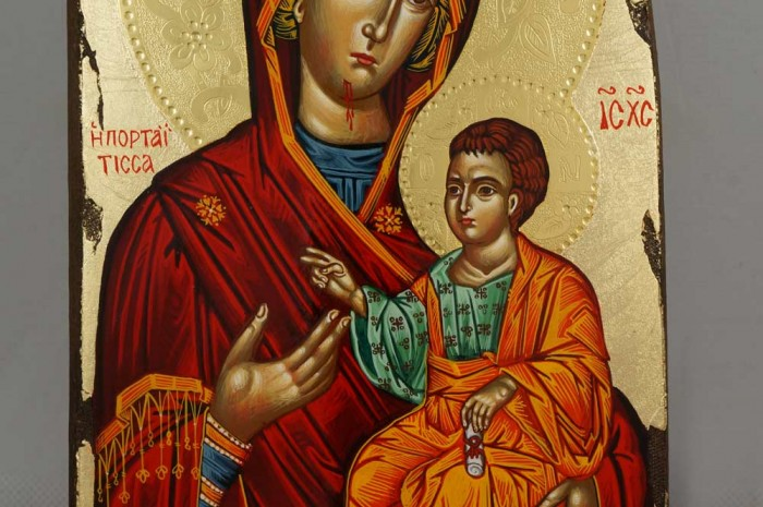 Panagia Portaitissa polished gold halos Greek Hand Painted Icon
