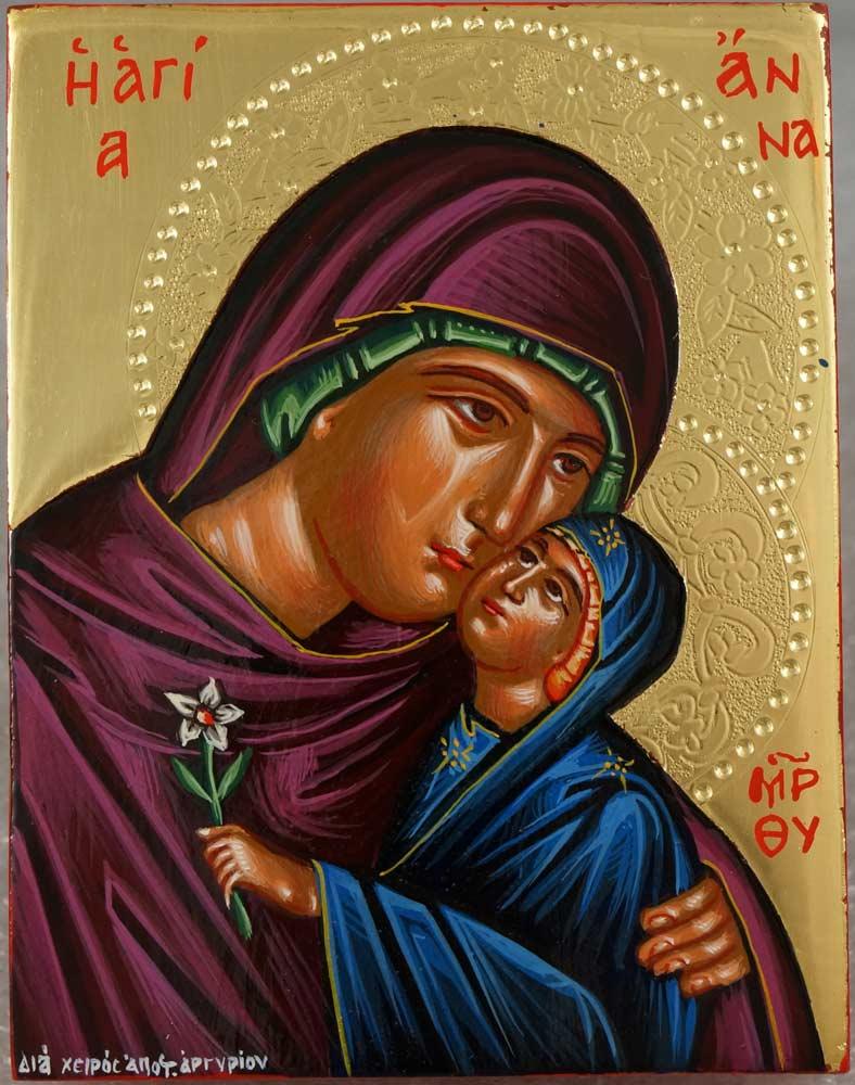 Saint Anna polished gold miniature Hand Painted Greek Orthodox Icon