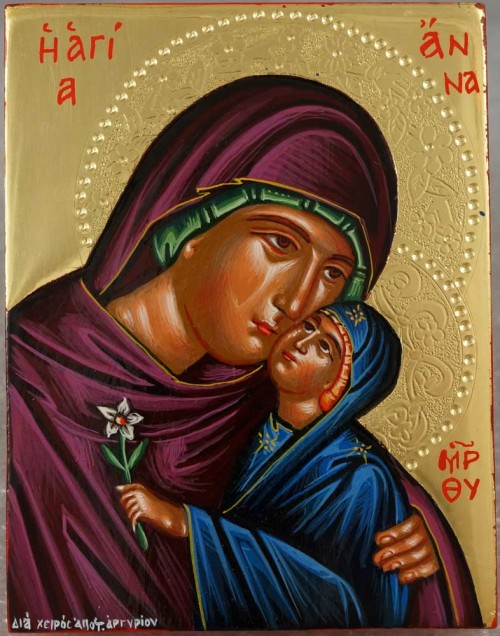 Saint Anna polished gold miniature Hand Painted Greek Orthodox Icon