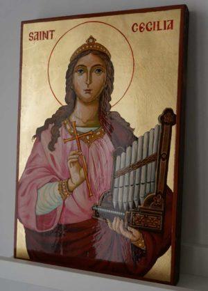 Saint Cecilia Hand Painted Catholic Orthodox Icon on Wood