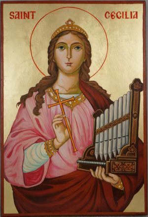 Saint Cecilia Hand Painted Catholic Orthodox Icon on Wood